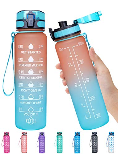 Elvira 32oz Motivational Fitness Sports Water Bottle with Time Marker & Removable Strainer,Fast Flow,Flip Top Leakproof Durable BPA Free Non-Toxic-Orange/Green Gradient