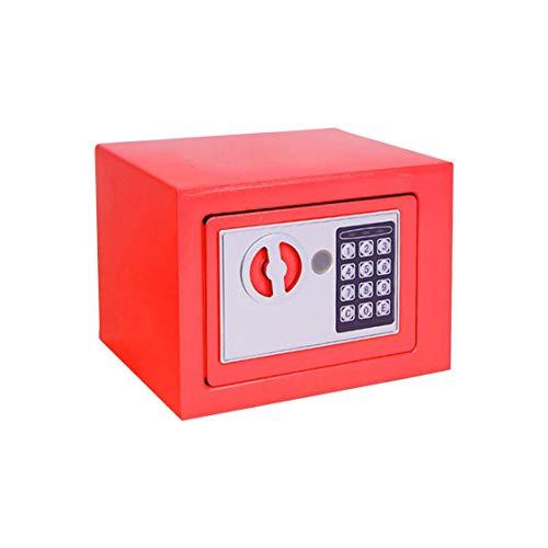 Household 17E Piccola cassaforte Mini muro Cassetta di sicurezza Comodino Password con serratura Scatola regalo Assicurazione - Rosso