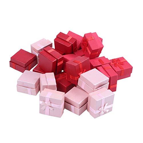GEEKEN Set de Caja de Regalo de 24 Piezas - Joyero de Anillo Cuadrado para Aniversarios, Bodas, CumpleaaOs, Colores Surtidos