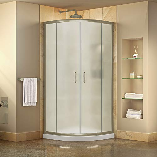 DreamLine Prime 36 in. x 74 3/4 in. Semi-Frameless Frosted Glass Sliding Shower Enclosure in Brushed Nickel with White Base Kit, DL-6702-04FR