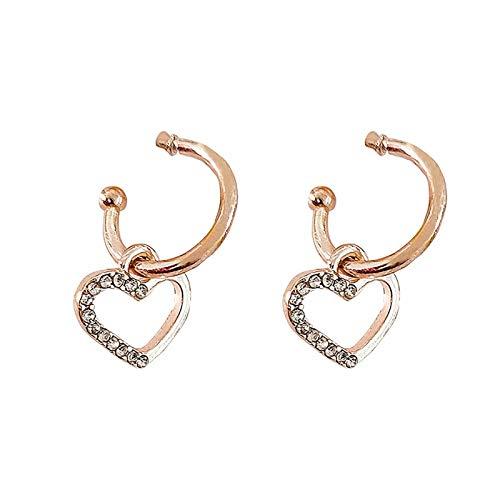 CHENYUXIA 2 pares de pendientes en forma de corazón para mujer, pendientes creativos, joyas personalizadas, regalo de cumpleaños (oro rosa/platino)