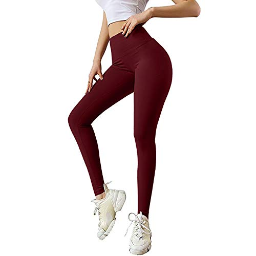 Leggings de deporte para mujer, de color puro, para levantamiento de la cadera, elásticos, fitness, running, pantalones de yoga vino. S