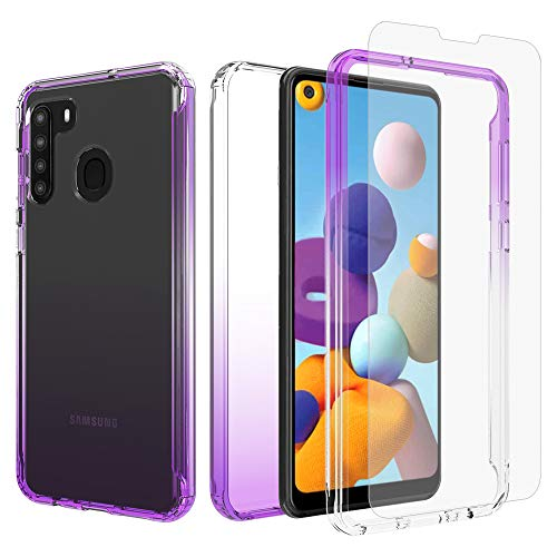 iRunzo 2 in 1 Hybrid Rugged Armor Case for Samsung Galaxy A21 (US CA Edition) Soft TPU Back Cover + PC Bumper Transparent Color-Changing 360° Full Body Protect (Purple)