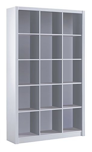 Habitdesign 005493BO - Estanteria libreria Triple, Color Blanco Brillo, Medidas 195 x 114 x 30 cm de Fondo