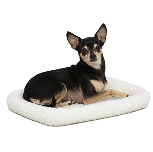 18L-Inch White Fleece Dog Bed or Cat Bed with Comfortable Bolster, Ideal for Toy Dog Breeds & Fits an 18-Inch Dog Crate, Easy Maintenance Machine Wash & Dry, 1-Year Warranty