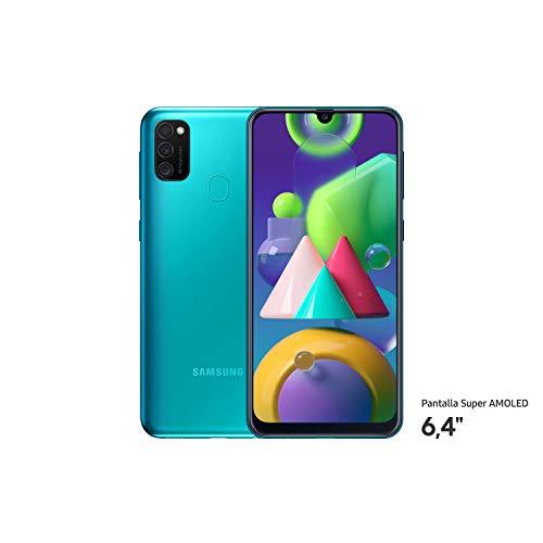 """Samsung Galaxy M21 - Smartphone Dual SIM de 6.4"""" sAMOLED FHD+ (Triple cámara 48 MP, 4 GB RAM, 64 GB ROM ampliables, batería 6000 mAh, Android) Color Verde [Versión española]"""