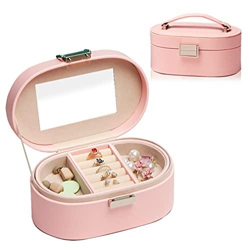 Joyero para mujer de doble capa para joyas, de piel sintética, para anillos, pendientes, collares, pulseras, pintalabios, regalos para mujeres
