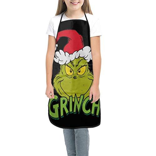 Th-E Gri-Nch Tabliers pour enfants pour la cuisine, la pâtisserie, le jardinage, les arts et les travaux manuels pour enfants de 3 à 8 ans - Noir - petit