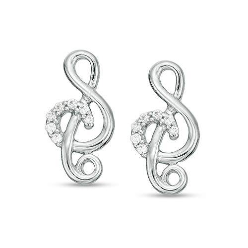 2Hearts 1/10 CT. T.W. Pendiente de botón de clave de sol de diamante transparente D / VVS1 de corte redondo para mujer en plata de ley 925