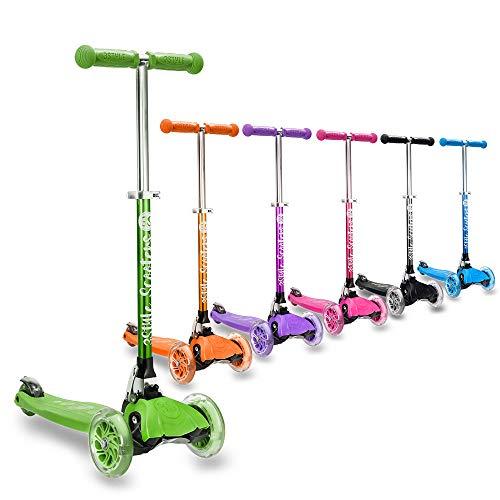 3StyleScooters® RGS-1 Patinete Scooter Tres Ruedas para Niños Pequeños Niños de 3 Años o Más con Luces LED en Las Ruedas, Diseño Plegable, Manillar Ajustable (Verde)