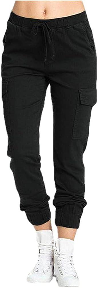 NP Women's Trousers Workwear Pants Casual Elastic Waist Side Pocket Women's Black