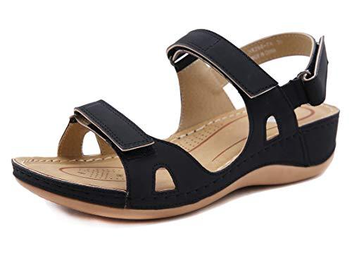 CELANDA Open Toe Sandali Donna Premium Ortopedico Sandali Estivi Comode Cuoio Sandali con Zeppa Vintage Sportivi Sandali Scarpe da Spiaggia Nero Taglia: 42 EU
