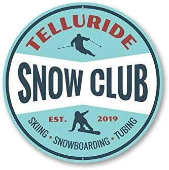 ZMKDLL Snow Club Skiing Sign Snowboarding Sign Ski Lodge Sign Lodge Tin Decor 12 Diameter product image