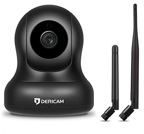 Dericam 1080P Home Wireless Überwachungskamera, Pan/Tilt Control, 4X Digitalzoom, Nachtsicht und Zwei Wege Gespräch, Baby Pet Veranda Monitor, Alternative Antenne, P2, Schwarz