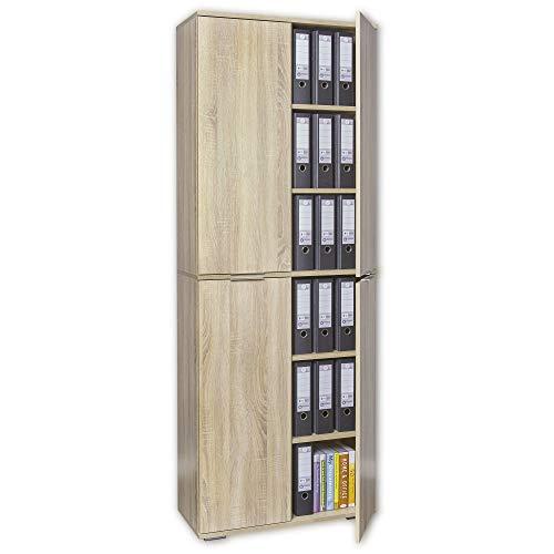 mutatio Büroschrank - Aufbewahrungsschrank - Aktenschrank [Viel Platz für Ordner ] Schrank - Meehrzweckschrank - Büro Möbel - Sonoma-Eiche ca. B80,2cm x H214,7cm x T35cm | Bücherschrank