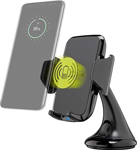 Goobay 66309 Kabellose Handyhalterung mit Schnellladefunktion 10 W (Schwarz), 2 m - Universal-Windschutzscheiben-Halter mit Schnellladetechnik für Smartphones mit Qi-Standard