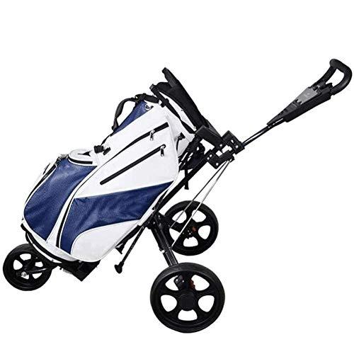 HFJKD Golf Trolley Golf Trolley 3 Rad Push Golf Trolley - Manueller Push/Pull Golf Cart - Falte Schwarz-Schwarz, Schwarz