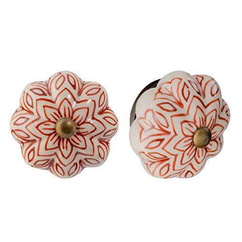 Nicola Spring Möbelknöpfe aus Keramik - Blumendesign im Vintage-Look - Dunkelrot - 24 Stück