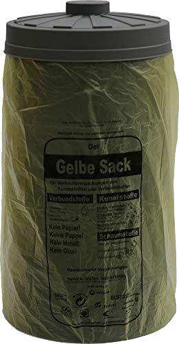 Sacktonne schwarz mit grauem Deckel - für Gelber Sack Ständer Müllsackständer, Müllständer, Wertstoffbehälter