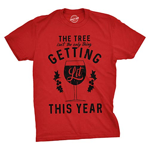 Crazy Dog Tshirts - Mens The Tree Isnt The Only Thing Getting Lit Tshirt Christmas Wine tee (Red) - XXL - Camiseta Divertidas