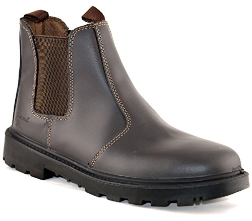 Mens Leather Safety Steel Chelsea Dealer Slip On Ankle Work Boots Shoes Size 6-14 - Brown - UK 10