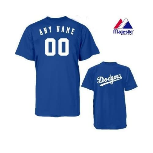 75ddf0691 Amazon.com   Majestic Athletic Los Angeles Dodgers Personalized Custom (Add  Name   Number) 100% Cotton T-Shirt Replica Major League Baseball Jersey    Sports ...