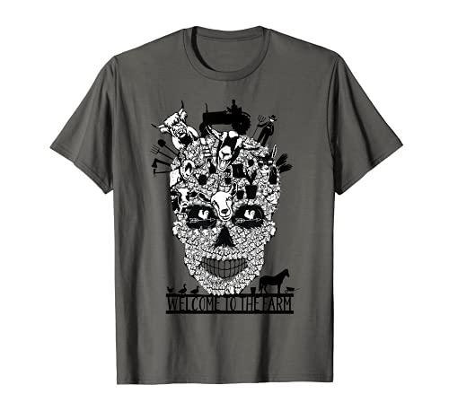 Finca familiar cráneo disfraz Halloween divertido agricultor Camiseta