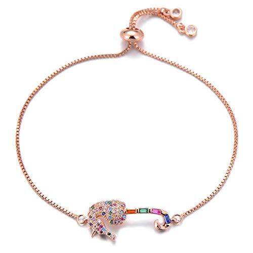 Bath chair Pulsera con colgante de caballito de mar con circonita cúbica en forma de princesa, cadena deslizante, caballito de mar, joyería femenina CHFYG (color: oro rosa)