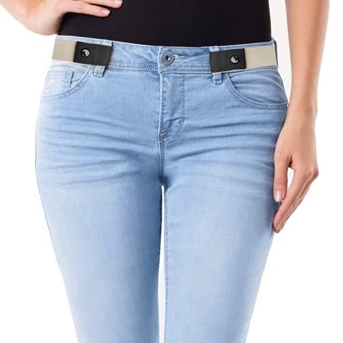 SWAUSWAUK 2 Piezas Cinturon sin Hebilla para Mujer Hombre - Cinturon Elastico sin Hebilla Mujer Hombre, Cómodo y Ajustable Cinturón Elástico para Jeans Pantalones Camisas(Negro, Caqui)