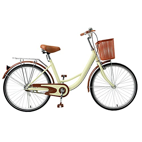 Viribus Comfortable Commuter Bike, Single Speed Beach Cruiser Bicycle, High-Carbon Steel Frame, Front Basket & Bell, Rear Racks (Cream2, 26inch)
