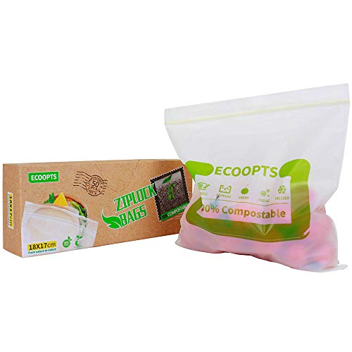 ECOOPTS 100% Compostable Sandwich Ziplock Bags Reusable Small Storage Freezer Bag for School or Work - 7.1 x 6.7 Inch, 50 Count
