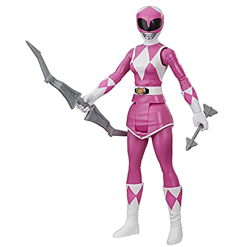 Power Rangers Mighty Morphin Pink Ranger 12-Inch Action Figure Toy Inspired by Classic Power Rangers TV Show, with Power Bow Accessory