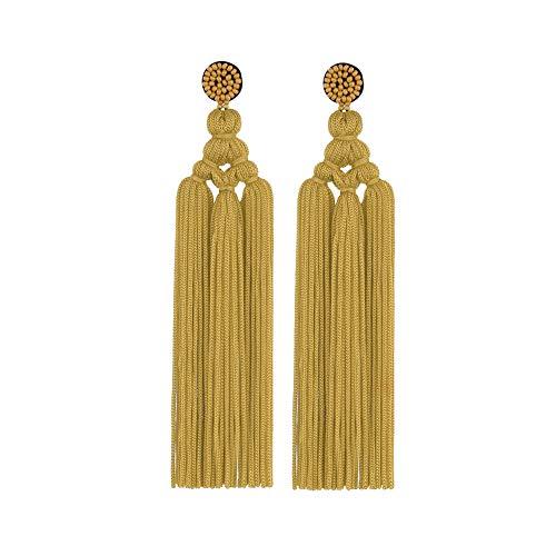 YONKINY Pendientes Largos de Borla para Mujeres Chicas Boho Moda étnico Pendientes Colgantes Fleco Color Sólido Arete Earrings para Viaje Playa Vida Diaria (negro)