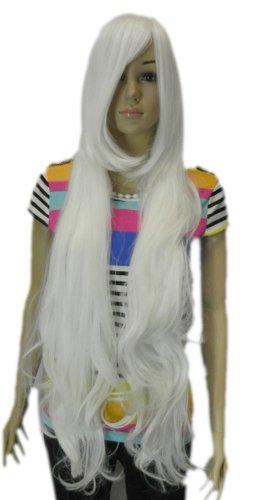 Qiyun Femme Extra Longue Resistant a la Chaleur Kanekalon Fibre Blanc Argent Ondule Big Waves Complete Cheveux Cosplay Anime Costume Perruque