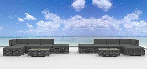 Hot Sale Urban Furnishing - LAGUNA 12pc Modern Outdoor Backyard Wicker Rattan Patio Furniture Sofa Sectional Couch Set - Charcoal