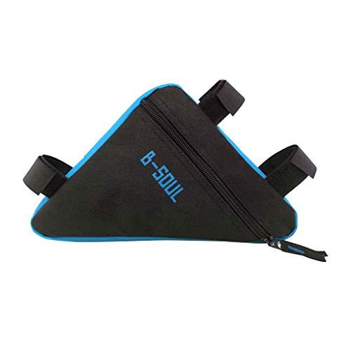 BikeTriangle - Bolsa para bicicleta (marco delantero), impermeable, bolsa para bicicleta, bolsa para montar en el teléfono, bolsa de almacenamiento para accesorios, 7,28 x 1,57 pulgadas, Blue,