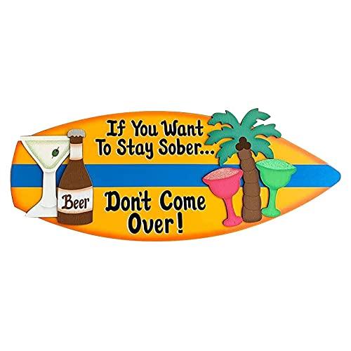 JUNERAIN Letreros de tabla de surf de madera Signo colgante de madera Decoración de pared Arte de pared Estilo tropical Tiki Bar Ornamento Casa Fiesta Verano Playa Decoración para colgar