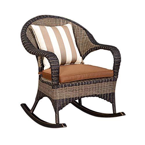 XLSQW Schaukelstuhl Bequeme Relax Lehnstuhl, PE Rattan Patio-Möbel Gartenstühle Lounge Chair Alle Aluminium Rahmen, für Garten Rasen Balkon Hinterhof Patio Fu
