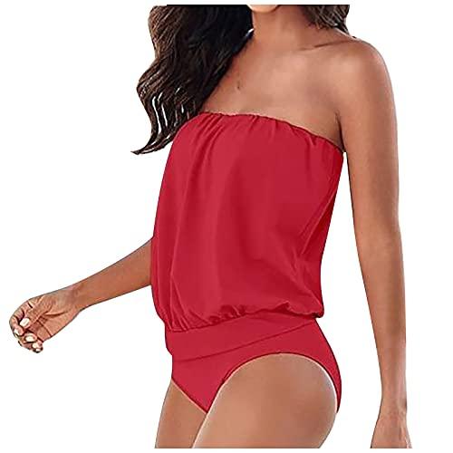 Traje de Baño Una Pieza Bandeau para Mujer Ropa de Baño de Color Sólido Elegante Bañadores Suelta y Ligero Monokini Sexy Bikinis Mujer Swimwear Ideal para Buceo,Natación,Surf