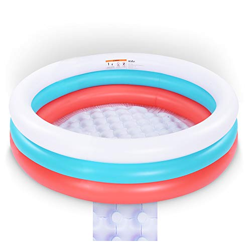 Paddling Pool,152 cm 3 Ring Swimming Pool for Kids,Inflatable Paddling Pool with Soft Inflatable Floor,Water Baby Pool Inflatable Ball Pit for Outdoor Indoor Garden (Red,White,Blue)