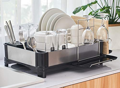 PremiumRacks Large Dish Rack - 304 Stainless Steel - Modern Design - Large Capacity