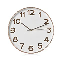 RCA RCWC20RW Wall Clock, 11.5 Round - Gold. Decorative Wall Clock - Battery Operated Quartz Accuracy - Large Display Clock