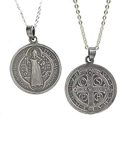 Sicuore Collar Colgante San Benito para Mujer Hombre - Plata de Ley 925 Incluye Cadena 45cm Y Estuche para Regalo