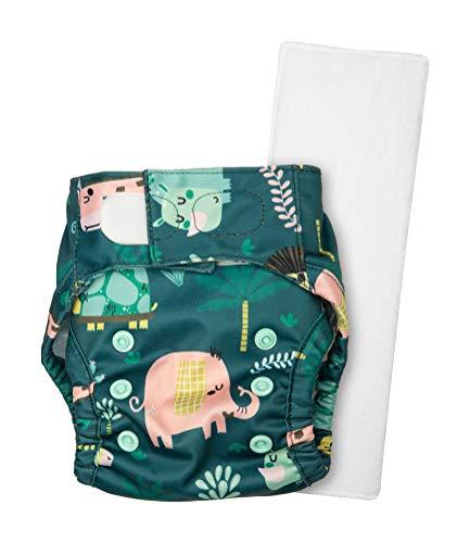 Justbumm Newborn Size Cover Diaper with 1 Organic Cotton Prefold Economical & Reusable Cloth Diaper for 2.5-7 kg Babies (Pride), Green, 2 Piece