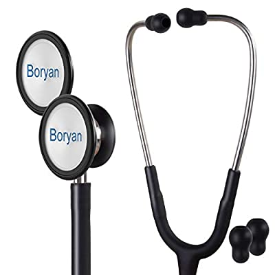 Boryan Dual Head Stethoscope, Premium Classic S1 Stethoscope with Flexible Tubing for Medical and Home (Black), Lightweight Design for Doctors, Nurses, and Emergency Medical Professionals or Students