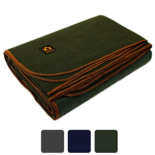 Arcturus Military Wool Blanket - 4.5 lbs, Warm, Thick, Washable, Large 64' x 88' - Great for...