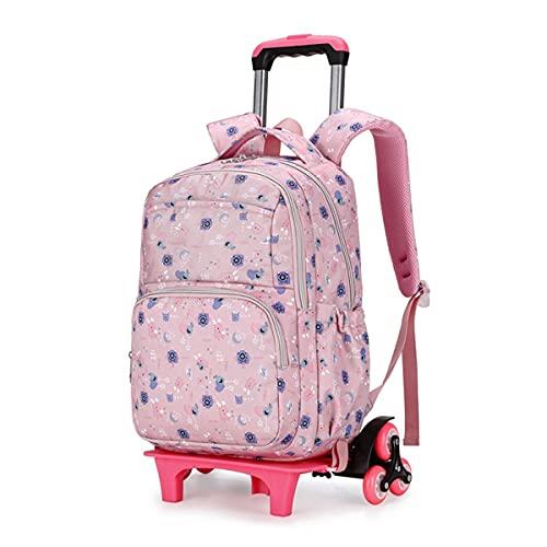 YUTCRE Mochilas Escolares con Ruedas, Mochila Escolar Trolley Portátil Maleta Infantil Caja Trolley Multifunción Mochila de Viaje para Niños Niñas (Color : Light Pink, Size : 42 * 30 * 18cm)