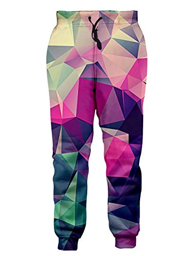 Loveternal 90s Colorful Pink Joggers for Men 3D Colorful Blocks Printed Cool Tracksuit Joggers Novelty Workout Sweatpants for Men Women Comfy Training Joggers L