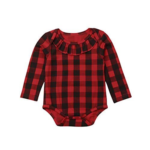 Qinngsha - Tutina per neonato con camicia rossa a quadretti natalizi Red Black 0-6 Mesi