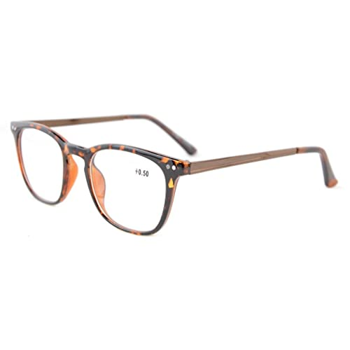 1d6e7c1c75 Eyekepper Readers Retro Square Plastic Frame Metal Arms Reading Glasses